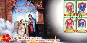 Fiji 2015 FDC Christmas Archangels Messengers of God 4v Set Cover Angels Stamps