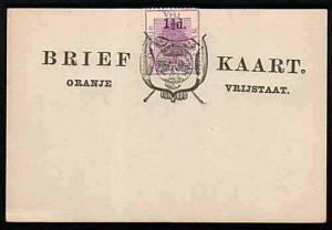 ORANGE FREE STATE 1½d on 2d on postcard opted Arms, unused.................33537