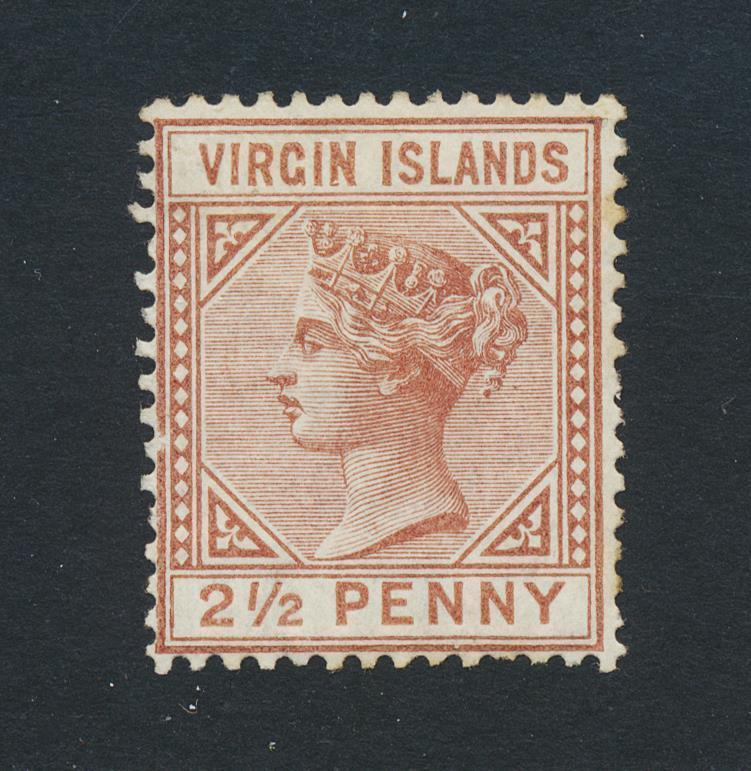 BRITISH VIRGIN IS 1888, 2½d WMK CC, VF MINT SG#25 (SEE BELOW)