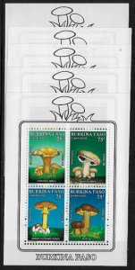 Burkina Faso #899a MNH S/Sheet - Mushrooms - Wholesale X 5