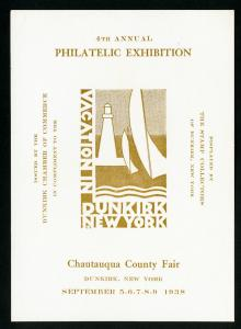 US 1938 Chautauqua Fair Dunkirk New York Philatelic Exhibition Stamp Label