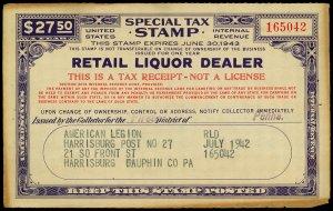 U.S. REV. STAX -RET. LIQ. DEALER FYE 1943  Used (ID # 61833)- L