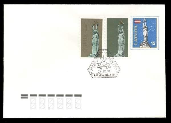 Latvia 1991 10k+30k Liberty Monument FDC