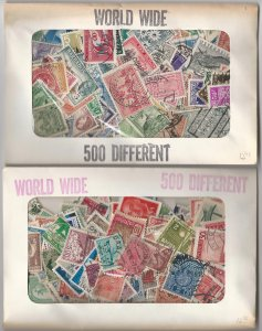 Old Unopened 500 Different World Wide Stamp Packet Assembled Before 1980.