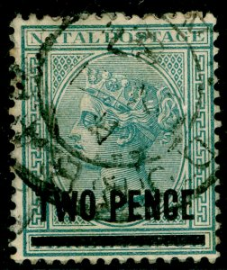 SOUTH AFRICA - Natal SG105, 2d on 3d grey, USED.
