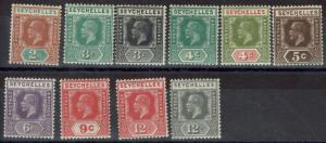 SEYCHELLES 1921 KGV RANGE TO 12C WMK MULTI SCRIPT CA