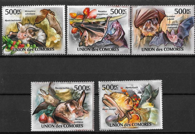 Comoro Islands MNH Set of 5 Bats 2011