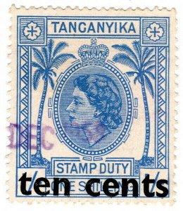 (I.B) KUT Revenue : Tanganyika Duty 10c on 1/- OP