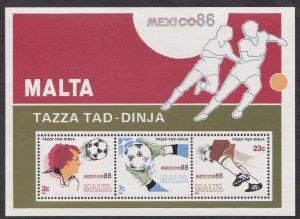 Malta # 681a, World Cup Soccer, Souvenir Sheet, Mint NH, 1/2 Cat..