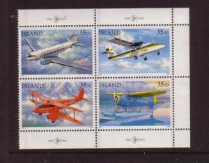 Iceland Sc 838-41 1997 Airplanes stamp set mint NH