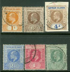 CAYMAN ISLANDS : 1905-07. Stanley Gibbons #8-13. Very Fine, Used. Catalog £170