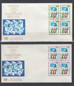 UN Geneva 50-51 Anniversary Blocks of Four Geneva U/A Set of Two FDC