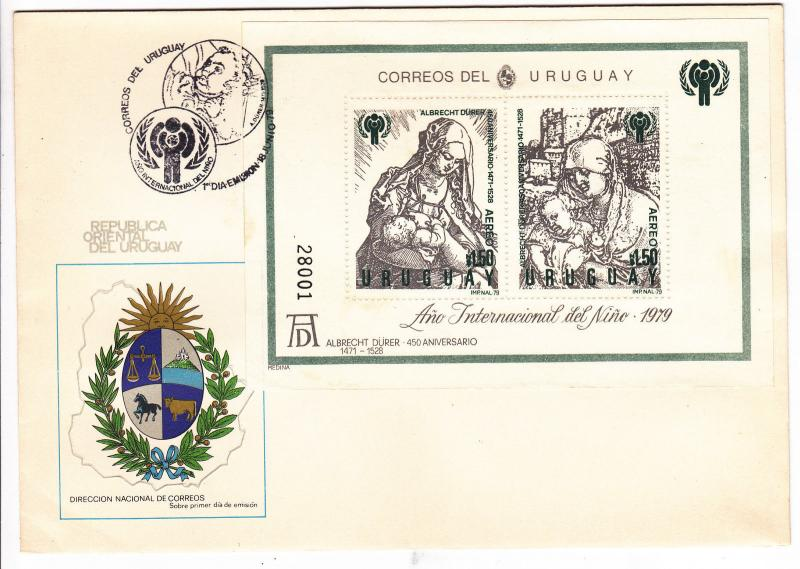 IYC INTERNATIONAL YEAR OF THE CHILD FDC Durer art engraving madonna Uruguay C436