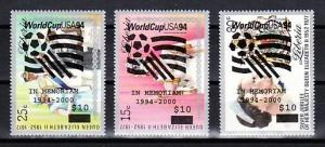 Liberia, L.U.R.D. 788-790 issue. World Soccer Cup, o/printed on Queen`s values