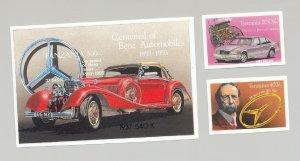 Tanzania #1099, 1101, 1103 Automobiles, Mercedes Benz 2v & 1v S/S Imperf Proofs