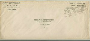 Submarine USS S-22 Naval Cover 1931 USS BUSHNELL CANAL ZONE