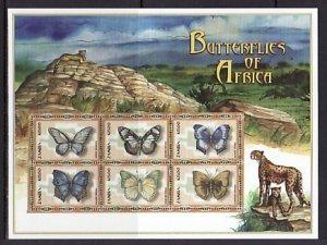 Zambia, Scott cat. 866 a-f. Butterflies sheet. ^