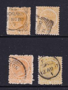 New Zealand x 4 QV 3d yellow from 1882 unsorted