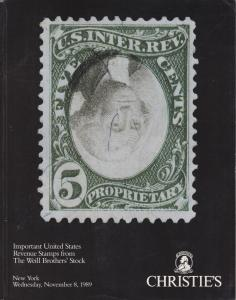 Important US Revenue Stamps from the Weill Brothers' stock. 1989 Christie's Sale
