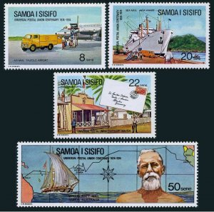 Samoa 403-406,MNH.Michel 302-305. UPU-100,1974.Airport,Wraft,Early Post,ship.