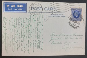 1935 London England Airmail Postcard Cover To Guernsey