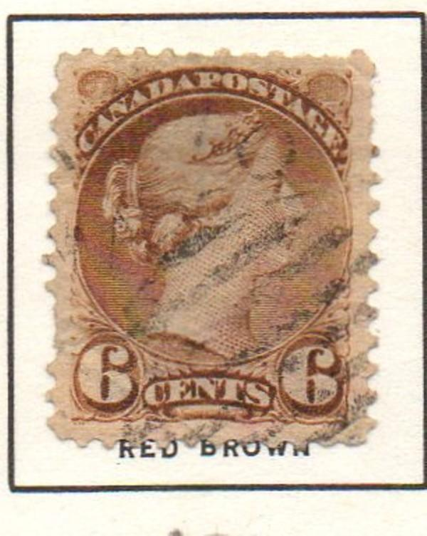 Canada Sc 43 1888 6c red brown small Queen Victoria stamp used