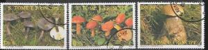 St Thomas and Prince # 887 - 889.  Issued 1987 Mushrooms