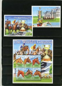SIERRA LEONE 2001 FAUNA/RACEHORSES SHEET OF 6 STAMPS & 2 S/S MNH