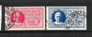 VATICAN   1929   EXPRESS  LETTER SET 2 FU     SG E14/15