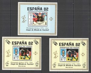 G0831 IMPERF CHAD FOOTBALL WORLD CUP 1982 !!! GOLD SILVER CHESS OVERPRINT MNH