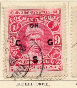 Cochin 1913 Early Issue Fine Used 9p. Optd 322432