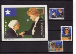 Somalia 1997 PRINCESS DIANA & MOTHER TERESA set + s/s Perforated Mint NH
