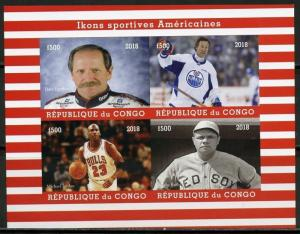 CONGO  2018 AMERICAN ICONS OF SPORT BABE RUTH JORDAN GRETZKY IMPERF  SHEET MINT