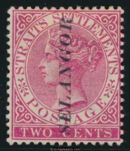 1889 Malaya Selangor 2c Pale Rose SELANGOR vertical overprint, SG 37 MH
