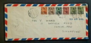 1952 Cairo Egypt To Singapore Multi Franked Airmail Cover