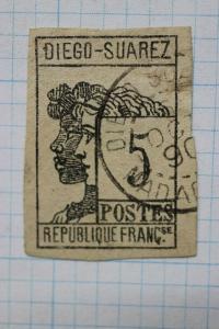 Diego-Suarez French Republic France Colony 5c sc#7 cv$200 used nice cancel 1890