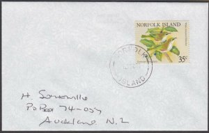 NORFOLK IS 1995 cover to New Zealand - 35c Birds............................A705