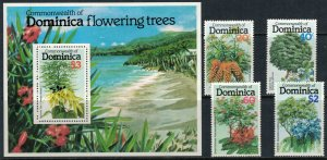 Dominica #635-9* NH  CV $3.50 Flowering Trees set & Souvenir sheet