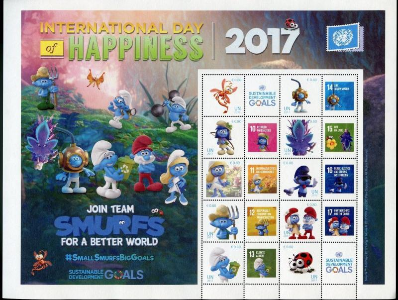 UNITED NATIONS 2017 INTERNATIONAL DAY OF HAPPINESS SMURF VIENNA PERSONALIZED SHT