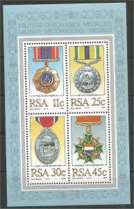 SOUTH AFRICA, 1984, MNH MS, Military Medals Scott 645a