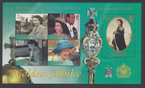 South Georgia Sc 278 MNH. 2002 QEII Golden Jubilee Souvenir Sheet, VF