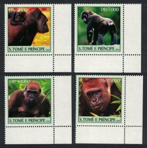 Sao Tome Orangutan Monkeys 4v Corners