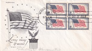 1957, 4c Flag, Block/4, Day Lowry, FDC (E11364)