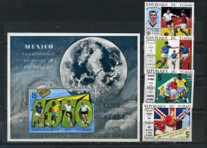CHAD 1970 Sc#227A-227F SOCCER WORLD CUP MEXICO SET OF 4 STAMPS & S/S MNH