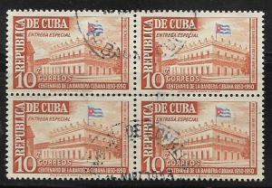 Cuba #E13 Special Delivery used Blk of 4 CV $5.00