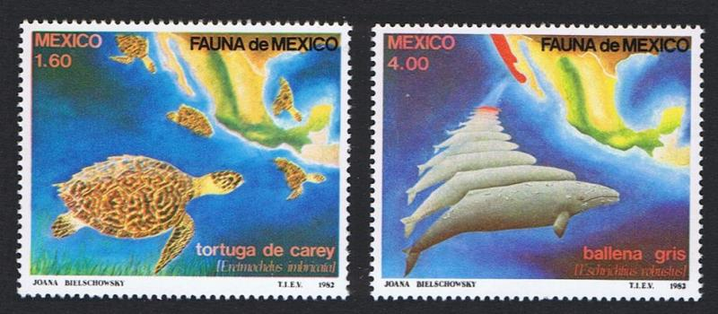 Mexico Whales Turtles Mexican Fauna 2v SG#1638/39 SC#1281-82