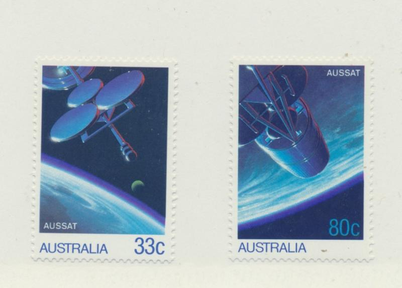 Australia Scott #972 To 973, Communications Satellites Issue From 1986, Colle...