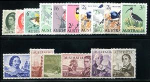 Australia 365-379 Mint NH, Birds and Explorers