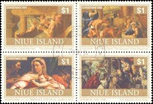 Niue #669-670, Complete Set(2), Blocks of 4, 1994, Used