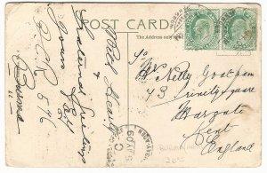 1909 Rangoon (Burma) via Bombay-Aden Sea Post Office to Kent, England, Local PPC